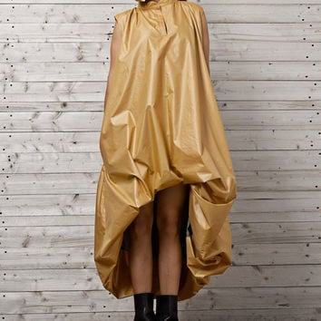 Asymmetric Mustard Dress / Oversize Assymetric Dress / Gold Kaftan / Gold Asymmetric Kaftan / Ballon Type Gold Dress / Plus Size Maxi Dress