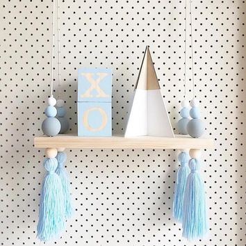 Hot Sale Lovely Wooden Hanging Board Wall Ornament Room Decoration with Bead Tassel Decor