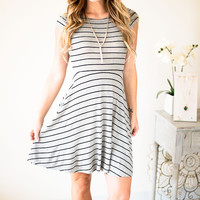 Inside The Lines Gray Striped Dress