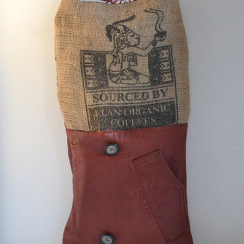 Burlap and Leather Tote Bag - Coffee Burlap Tote - Repurposed Tote Purse