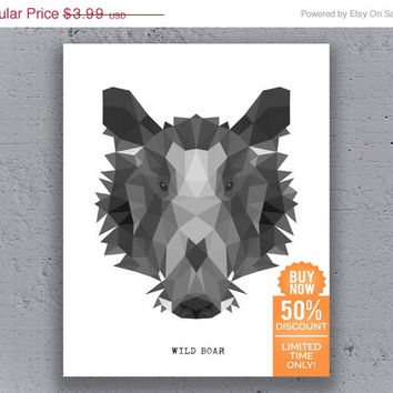 Wild Boar Print Printable Typography Poster Geometric Black White Wildlife Animal Art Retro Art Print Instant Download Digital Print