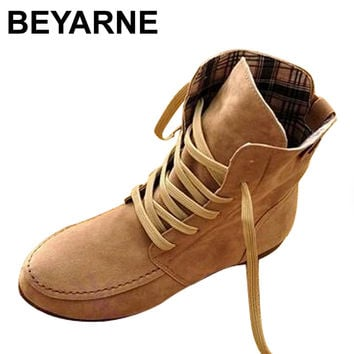 BEYARNE Autumn Women Ankle Motorcycle Boots Summer Winter Martin Shoes Woman Brand Leather Flats Botas Femininas Snow Boots