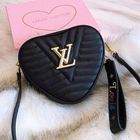 LV Trending Women Shopping Bag Leather Shoulder Bag Handbag Stylish Heart Crossbody Satchel Black