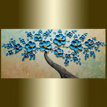 Art Oil Hand-painted picture 100% home-made mode blue Tree pallet