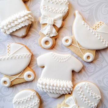 Elegant White Decorated Baby Cookies - 12 Decorated Sugar Cookies - Perfect for Baby Showers