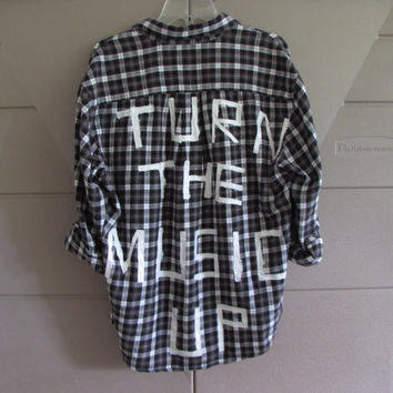 "Size Extra Large Handpainted ""Turn the Music Up"" Vintage Flannel"