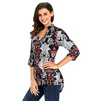 Dark Carved Paisley Print Slight V Neck Blouse