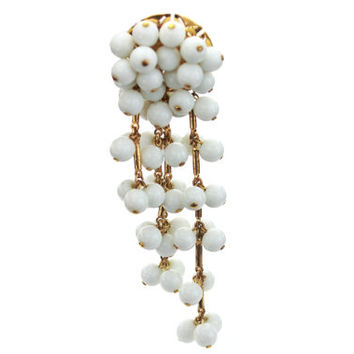 Coro Milkglass Dangle Brooch / Statement Jewelry / B7