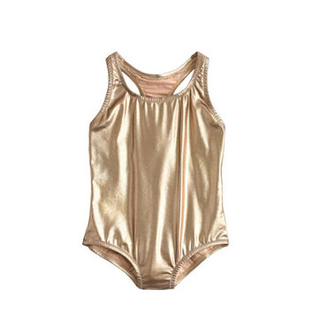 crewcuts Girls Racerback One-Piece Swimsuit In Metallic