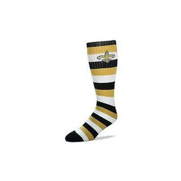 New Orleans Saints Striped Knee High Hi Tube Socks One Size Fits Most Adults