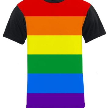 Horizontal Gay Pride Rainbow Black Back and Sleeve T-Shirt by NDS Wear