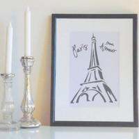 Paris Mon Amour - black on white - DIN A4 - Wall Art Print handmade written - original by misssfaith