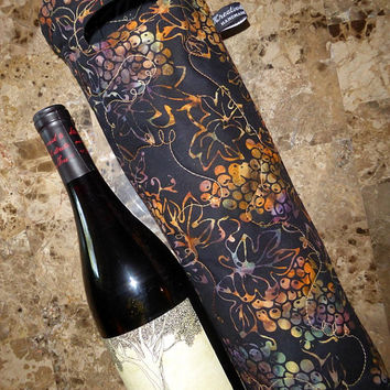 Black Wine Gift Bag - Double Insulated Wine Tote - Reusable Wine Tote - Champagne Gift Bag