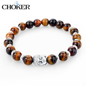 2016 Natural Stone Buddha Charm Bracelets With Stones Beads Bracelets For Women Men Silver Turkish Jewelry Pulseira Masculina