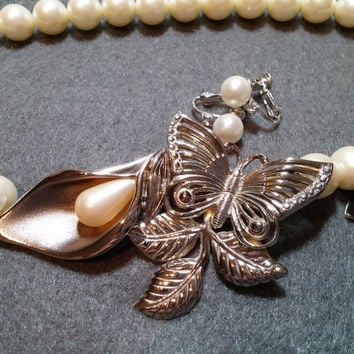 Richelieu Faux Pearl Demi, Choker and Earrings, Silvertone Decorative Clasp. NOS, Necklace Has Original Tag!