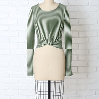 Green and White Striped Twist Top