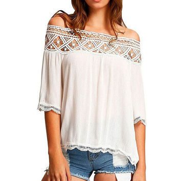 Womens Chiffon and Lace Off Shoulder Crop Tops Shirts Blouses