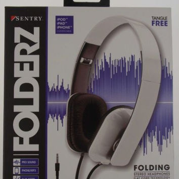 Sentry Folderz Folding Stereo Headphones White DLX20 Tangle Free Flat Cord 3.5mm