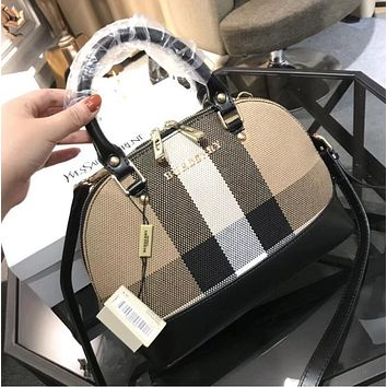 Burberry Trending Women Stylish Leather Shell Bag Multicolor Single Shoulder Handbag Crossbody Satchel(3-Color) Black I-WXZ2H