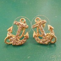 Gold Anchor Earrings with rope - Earrings - Rhinestone Anchor Earrings