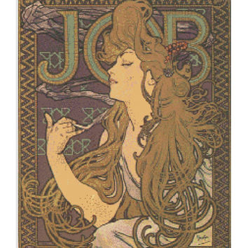 Job by Mucha - art nouveau advertising cigarettes famous works of art modern needlecraft  pdf cross stitch pattern - INSTANT DOWNLOAD