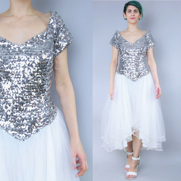Vintage Sequin Wedding Dress Princess Tulle Full Skirt Wedding Dress White Silver Sequined Dress 80s Formal Prom Gown Fishtail Hem (M/L)