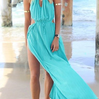 Light Blue Drawstring Split Beach Dress
