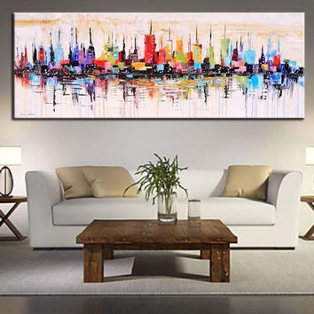 Hand painted modern oil painting abstract new york city paintings colored canvas art large wall picture for living room