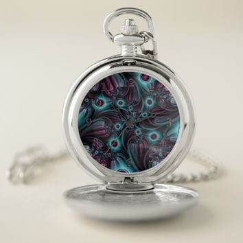 Into the Depth Blue Pink Abstract Fractal Art Pocket Watch