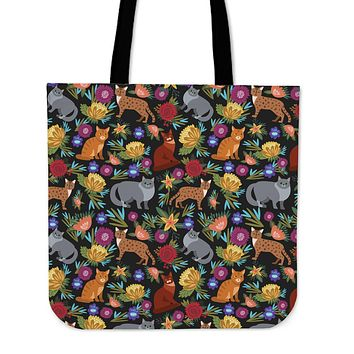 Cat Flower Linen Tote Bag - Promo