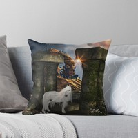 'Wonderful white unicorn in the night' Throw Pillow by nicky2342