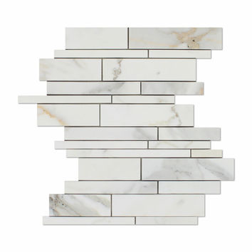 Calacatta Gold Marble Honed Random Strip Mosaic Tile