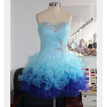 Sexy Ball Gown Graduation Party Sweetheart Crystal Beaded Short Homecoming Prom Dress Above Knee Formal Cocktail Dresses Vestido