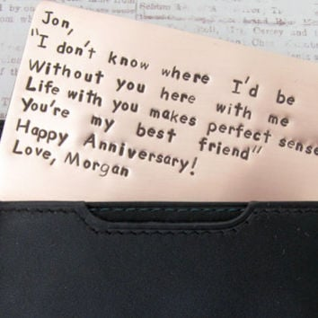 Personalized Wallet Insert Copper Card - Hand Stamped Metal - Gift Husband Boyfriend 7 Seven Year Anniversary