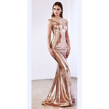 Long Off The Shoulder Fitted Sequins Dress Rose Gold Deep Plunge Neckline