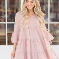 Pebble Pink Babydoll Dress