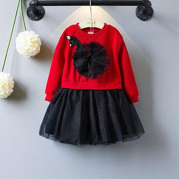 Cute Mesh Girls Princess Dress Autumn Winter Kids Baby Girl Knitted Party Wedding Pageant Lace Dress Long Sleeve Red Clothes