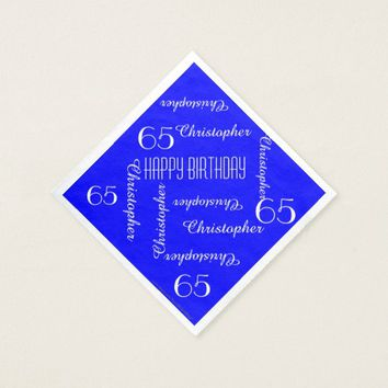 CHOOSE YOUR COLOR 65th Birthday Party Repeat Names Paper Napkin