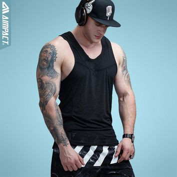 Mens Bodybuilding Mesh Tank Top Fitness Workout  Low Cut Arm Hole Activewear