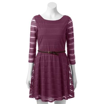 Lily Rose Shadow-Striped Dress - Juniors