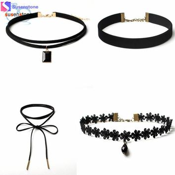 Goth 4 Pieces Choker Necklace Set Stretch Velvet - Free Shipping