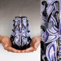 Black candle - Purple candle - Carved candle - Valentines day gift