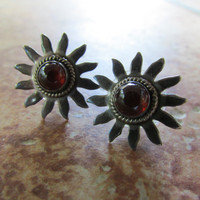 Sterling Silver Earrings Sun Earrings Pierced Hippy Boho Teen