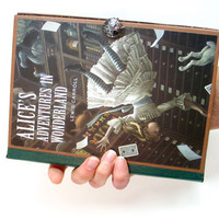 Alice in Wonderland Book Clutch made from Upcycled Book