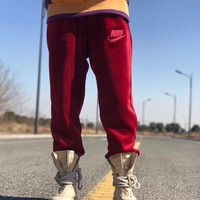 """Nike Velour Jogger"" Unisex Fashion Velvet Letter Embroidery Thickened Sweatpants Couple Leisure Pants Trousers"