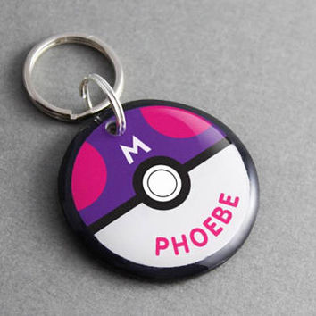 Pet ID Tag Master Ball - Pokemon, Pokeball, Video Game, Anime, Dog ID Tag, Cat ID Tag, Nerd, Geek, Gaming, Cartoon, Personalized, Keychain