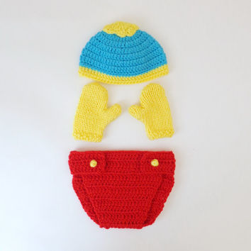 South Park Hat And Diaper Cover With  Mittens Or Gloves -Eric Cartman, Stan Marsh, Kyle Broflovski / Cosplay/ Baby Shower