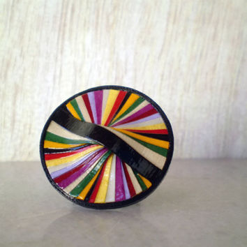 Colorful Round Paper Ring Recycled Paper Jewelry Eco-Friendly Ready to Ship / Πολύχρωμο Στρογγυλό Δαχτυλίδι