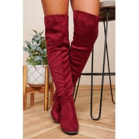 Doing My Thing Thigh High Boots (Burgundy)