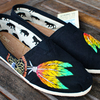 Custom Hand Painted TOMS -- Rasta Dream Catcher on Black Canvas Classic TOMS Shoes -- Customizable